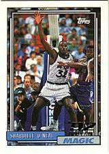 1992 Shaquille O'neil Topps Rookie